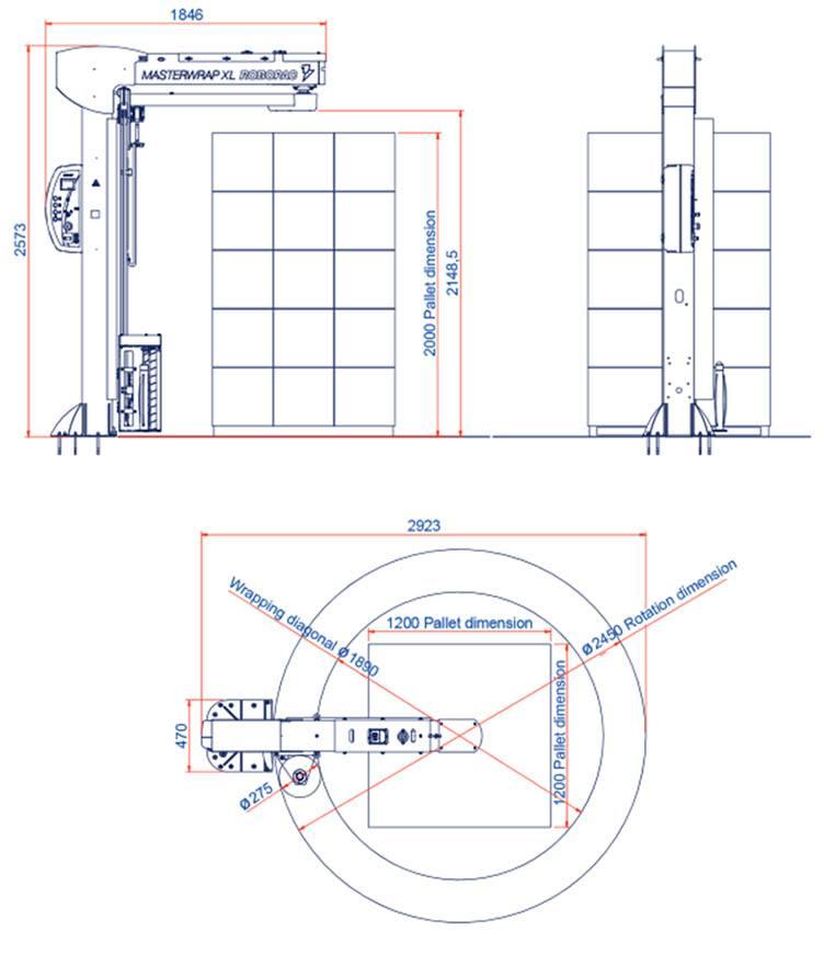 dimensiuni masina infoliat cu folie stretch verticala masterwrap