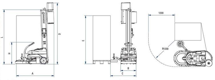 Masina de infoliat cu folie stretch verticala robot s6