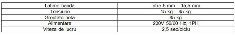 date tehnice masina de ambalat cu banda polipropilenica TP 202