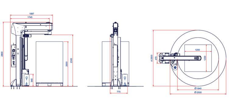 dimensiuni masina de ambalat verticala folie stretch Masterplat HD Plus XL