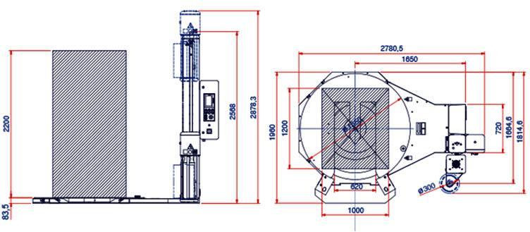 dimensiuni masina de ambalat speciala Rotoplat TP3
