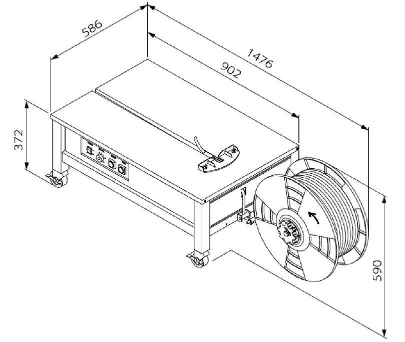 dimensiuni masina de ambalat cu banda polipropilenica TP 202L